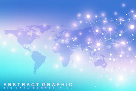 Geometric graphic background communication. Big data complex with compounds. Perspective backdrop with World Map. Minimal array Big data. Digital data visualization. Scientific vector illustration Illustration