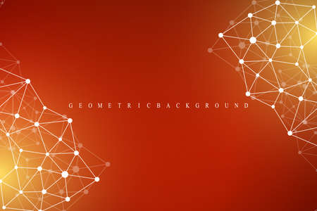 Geometric abstract background with connected line and dots. Graphic background for your design. Cybernetic background dots. Lines plexus. Vector illustration Illustration