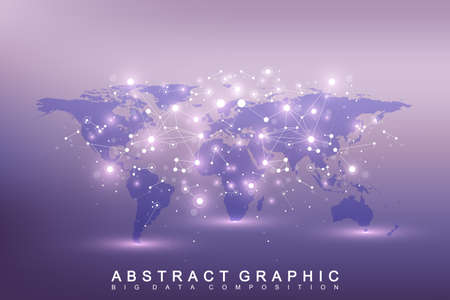 covalent: Geometric graphic background communication. Big data complex with compounds. Perspective backdrop with World Map. Minimal array Big data. Digital data visualization. Scientific vector illustration Illustration