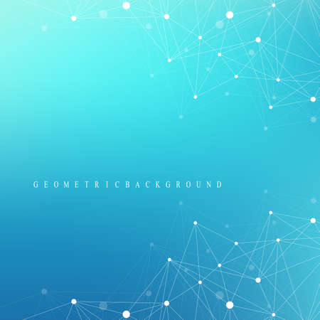 coordinates: Geometric graphic background molecule and communication. Big data complex with compounds. Perspective backdrop. Minimal array Big data. Digital data visualization. Scientific vector illustration