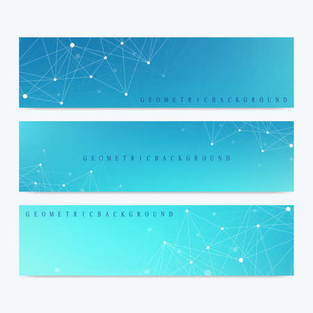 linkage: Modern set of vector banners. Geometric abstract presentation. Molecule DNA and communication background for medicine, science, technology, chemistry. Cybernetic dots. Lines plexus Illustration