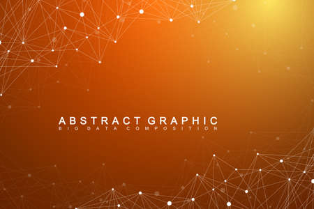 subsidiary: Geometric graphic background molecule and communication. Big data complex with compounds. Perspective backdrop. Minimal array Big data. Digital data visualization. Scientific vector illustration