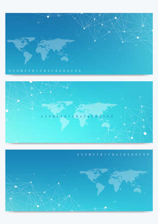 Modern set of vector banner with World Map. Geometric presentation. Molecule DNA and communication background for medicine, science, technology, chemistry. Cybernetic dots. Lines plexus. Card surface