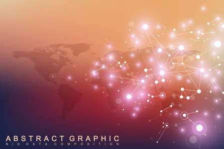 subsidiary: Geometric graphic background communication with World Map. Big data complex with compounds. Perspective backdrop. Minimal array. Digital data visualization. Scientific cybernetic vector illustration