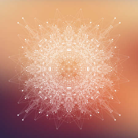 covalent: Fractal element with compounds lines and dots. Big data complex. Graphic abstract background communication. Minimal array. Digital data visualization. Lines plexus. Vector illustration