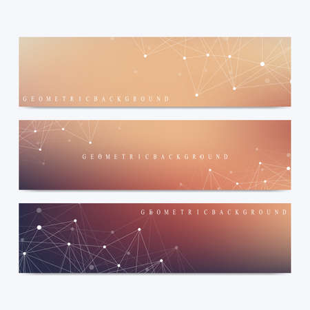 linkage: Modern set of vector banners. Geometric abstract presentation. Molecule DNA and communication background for medicine, science, technology, chemistry. Cybernetic dots. Lines plexus. Card surface