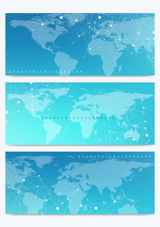 Modern set of vector banners with World Map. Geometric presentation. Molecule DNA and communication background for medicine, science, technology, chemistry.Cybernetic dots. Lines plexus. Card surface Illustration