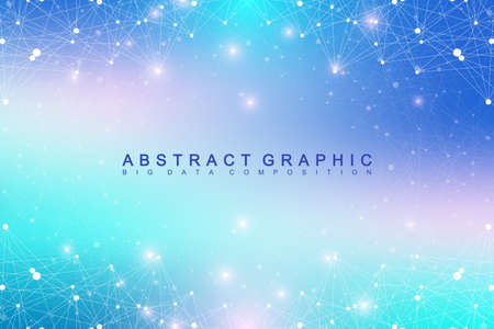 subsidiary: Geometric graphic background molecule and communication. Big data complex with compounds. Perspective backdrop. Minimal array. Digital data visualization. Scientific cybernetic vector illustration Illustration