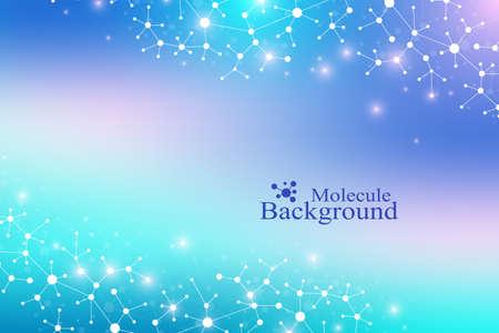 Modern Structure Molecule DNA. Atom. Molecule and communication background for medicine, science, technology, chemistry. Medical scientific backdrop Illustration