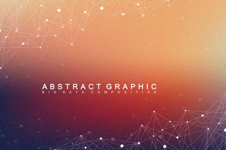 hyperspace: Geometric graphic background molecule and communication. Big data complex with compounds. Perspective backdrop. Minimal array. Digital data visualization. Scientific cybernetic vector illustration Illustration