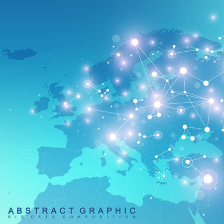 subsidiary: Geometric graphic background communication with Europe Map. Big data complex with compounds. Perspective backdrop. Minimal array. Digital data visualization. Scientific cybernetic vector illustration