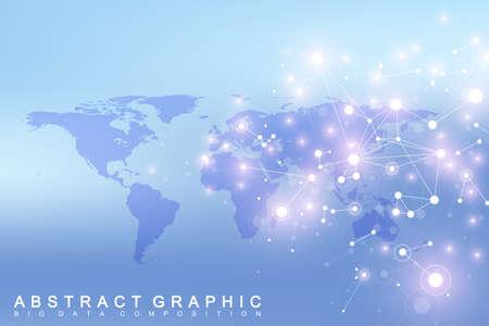World map with global technology networking concept. Digital data visualization. Lines plexus. Big Data background communication. Scientific vector illustration