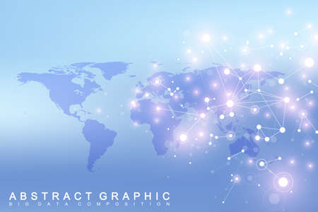 covalent: World map with global technology networking concept. Digital data visualization. Lines plexus. Big Data background communication. Scientific vector illustration