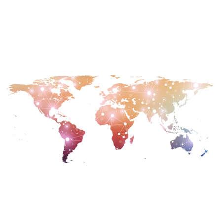 世界地図世界の技術ネットワークの概念に。デジタル データの可視化。線叢。大きなデータのバック グラウンド通信。科学的なベクトル図