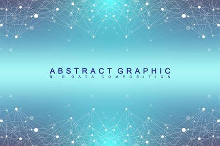 幾何学的なグラフィック背景分子と通信します。大きなデータの化合物と複雑です。視点の背景。最小限の配列。デジタル データの可視化。科学的