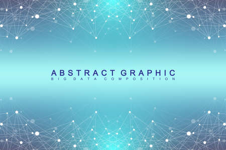 Geometric graphic background molecule and communication. Big data complex with compounds. Perspective backdrop. Minimal array. Digital data visualization. Scientific cybernetic vector illustration Illustration