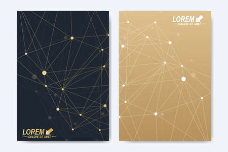 Modern vector template for brochure Leaflet flyer advert cover catalog magazine or annual report. A4 size. Business, science, medical design. Golden cybernetic dots. Lines plexus. Card surface Illustration