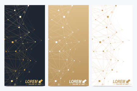 subsidiary: Modern set of vector flyers. Geometric abstract presentation. Molecule and communication background for medicine, science, technology, chemistry. Golden cybernetic dots. Lines plexus. Card surface.