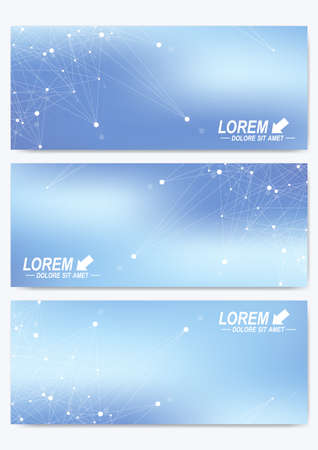 Modern set of vector banners. Geometric abstract presentation. Molecule DNA and communication background for medicine, science, technology, chemistry. Cybernetic dots. Lines plexus Illustration