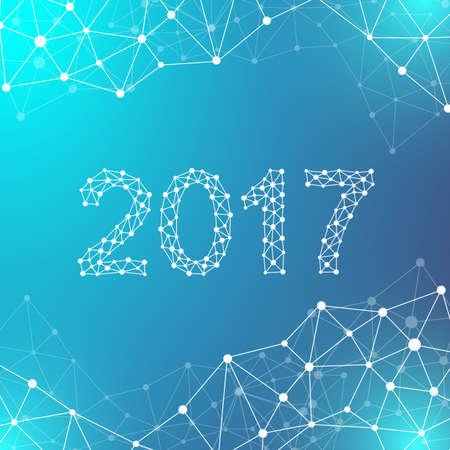 本文デザイン クリスマスと幸せな新年 2017。分子グラフィックの背景と通信します。ドットの接続線は。線叢。科学的なサイバネティック ベクトル
