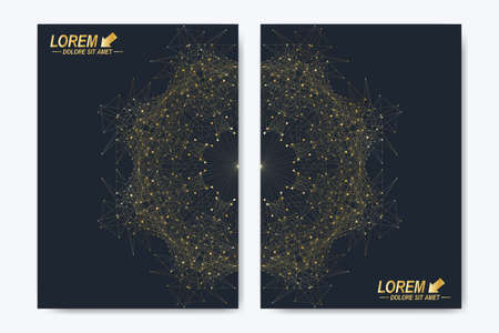 Modern vector template for brochure leaflet flyer cover catalog magazine or annual report. Golden layout in A4 size. Business, science and technology design book layout. Presentation with mandala. Illustration