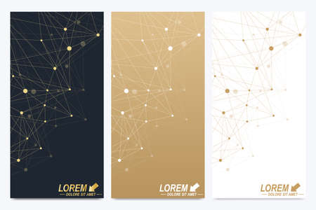 subsidiary: Modern set of vector flyers. Geometric abstract presentation. Molecule and communication background for medicine, science, technology, chemistry. Golden cybernetic dots. Lines plexus. Card surface