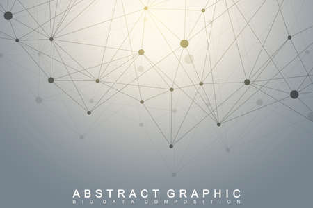 hyperspace: Geometric graphic background molecule and communication. Big data complex with compounds. Perspective backdrop. Minimal array. Digital data visualization. Scientific cybernetic vector illustration. Illustration