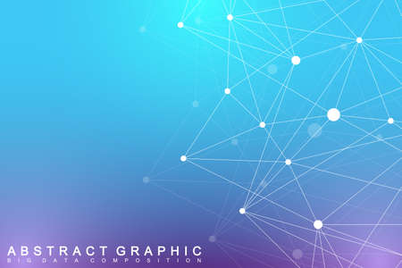 subsidiary: Geometric graphic background molecule and communication. Big data complex with compounds. Perspective backdrop. Minimal array. Digital data visualization. Scientific cybernetic vector illustration. Illustration