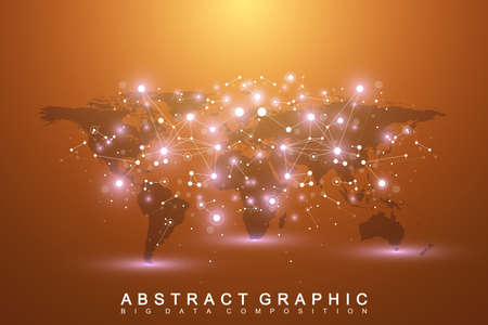subsidiary: Geometric graphic background communication with World Map. Big data complex with compounds. Perspective backdrop. Minimal array. Digital data visualization. Scientific cybernetic vector illustration. Illustration