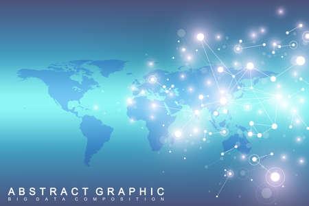 Comunicación de fondo gráfico geométrico con el mapa mundial. Big data complex con compuestos. Telón de fondo de la perspectiva. Arreglo mínimo Visualización de datos digitales. Ilustración de vector científico cibernético.