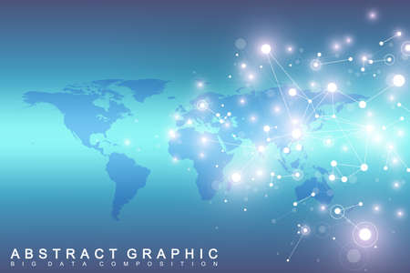 Geometric graphic background communication with World Map. Big data complex with compounds. Perspective backdrop. Minimal array. Digital data visualization. Scientific cybernetic vector illustration. Çizim