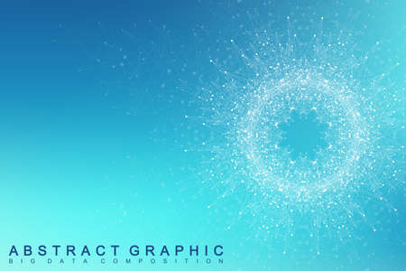 Fractal element with connected lines and dots. Big data complex. Virtual background communication or particle compounds. Digital data visualization, minimal array. Lines plexus. Vector illustration.