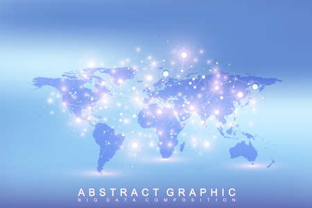 subsidiary: Geometric graphic background communication with Political World Map. Big data complex with compounds. Perspective minimal array. Digital data visualization. Scientific cybernetic vector illustration.