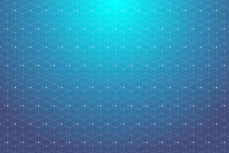 Blaues geometrisches Muster mit verbundenen Linien und Punkten. Grafische Hintergrundkonnektivität. Moderne stilvolle polygonale Kulissen-Kommunikationsverbindungen für Ihr Design. Zeilen Plexus Vektor-Illustration. Standard-Bild - 70286187