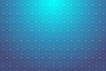 Blue geometric pattern with connected lines and dots. Graphic background connectivity. Modern stylish polygonal backdrop communication compounds for your design. Lines plexus. Vector illustration.