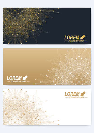 representation: Modern set of vector banners. Geometric abstract presentation with golden mandala. Molecule and communication background for medicine, science, technology, chemistry. Digital or science representation