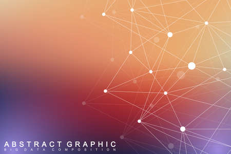tecnology: Geometric graphic background molecule and communication. Big data complex with compounds. Perspective backdrop. Minimal array. Digital data visualization. Scientific cybernetic vector illustration. Illustration