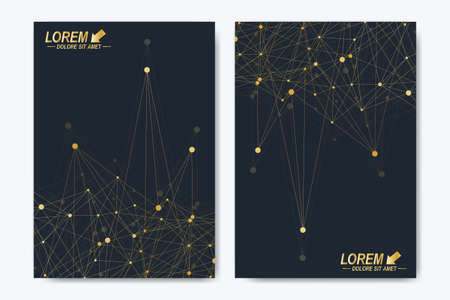 Modern vector template for brochure Leaflet flyer advert cover catalog magazine or annual report. A4 size. Business, science, medical design. Golden cybernetic dots. Lines plexus. Card surface.