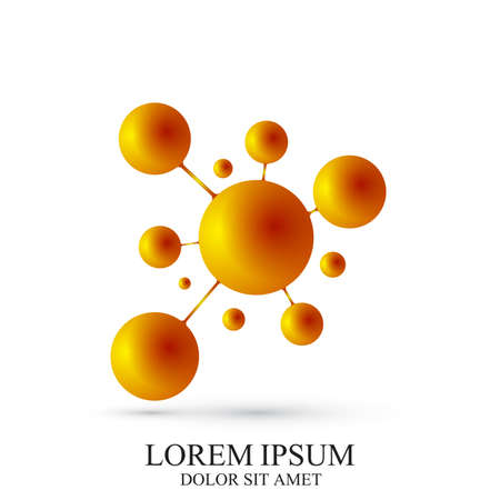 subsidiary: 3D Logotype icon dna and molecule. Golden vector template Logo for medicine, science, technology, chemistry, biotechnology. Illustration