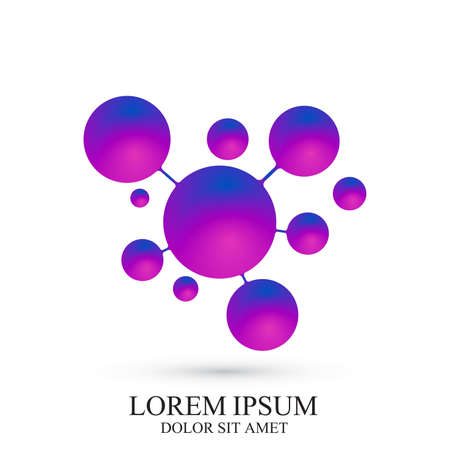 3D Logotype icon dna and molecule. Vector template Logo for medicine, science, technology, chemistry, biotechnology.