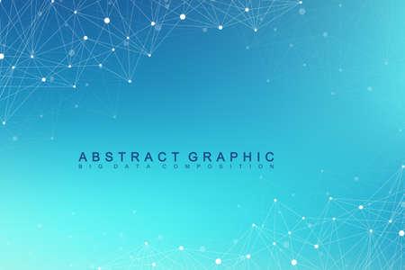 Geométrica fondo gráfico molécula y comunicación. Big data complex con compuestos. Telón de fondo de la perspectiva. Arreglo mínimo Visualización de datos digitales. Ilustración de vector científico cibernético.
