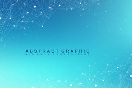 cybernetic: Geometric graphic background molecule and communication. Big data complex with compounds. Perspective backdrop. Minimal array. Digital data visualization. Scientific cybernetic vector illustration. Illustration