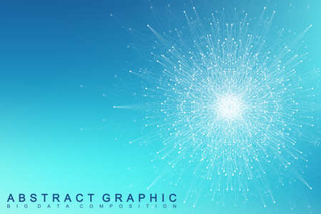tecnology: Fractal element with connected lines and dots. Big data complex. Virtual background communication or particle compounds. Digital data visualization, minimal array. Lines plexus. Vector illustration.