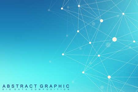 Geometric graphic background molecule and communication. Big data complex with compounds. Lines plexus, minimal array. Digital data visualization. Scientific cybernetic vector illustration.