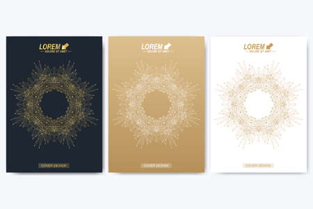 cipher: Modern vector template for brochure, leaflet, flyer, cover, catalog, magazine or annual report in A4 size. Business, science and technology design book layout. Presentation with golden mandala. Illustration