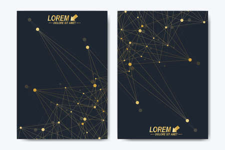 Vector template for brochure, Leaflet, flyer, advert, cover, catalog, magazine or annual report. Geometric background molecule and communication. Golden cybernetic dots. Lines plexus. Card surface.