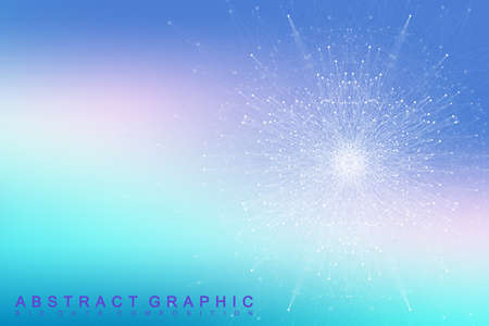 subsidiary: Fractal element with connected lines and dots. Big data complex. Virtual background communication or particle compounds. Digital data visualization, minimal array. Lines plexus. Vector illustration.