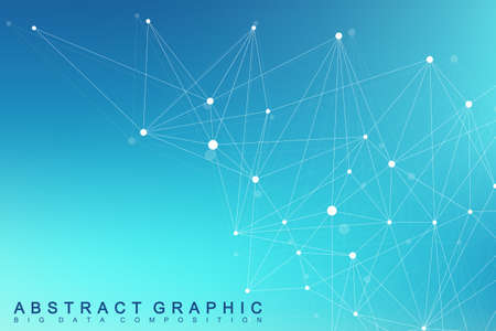 Geometric graphic background molecule and communication. Big data complex with compounds. Lines plexus, minimal array. Digital data visualization. Scientific cybernetic vector illustration.