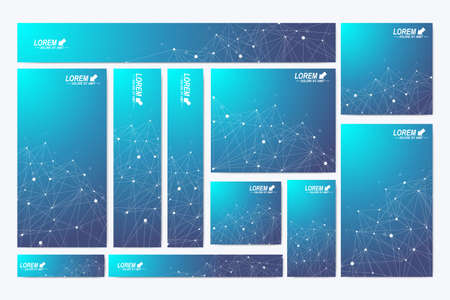 Scientific standard size banners. Geometric abstract presentation. Medical, science, technology, chemistry background molecule and communication. Cybernetic dots. Lines plexus. Card surface. Illustration