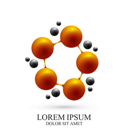 subsidiary: 3D Logotype icon dna and molecule. Vector template Logo for medicine, science, technology, chemistry, biotechnology.